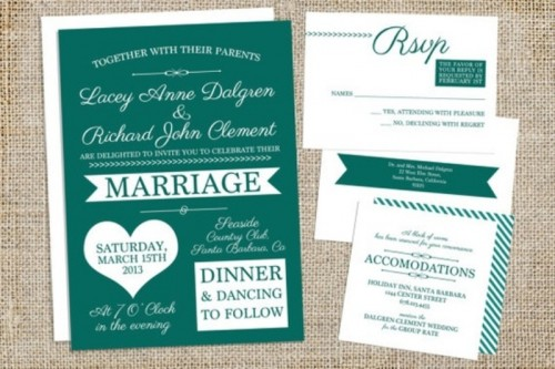 a fun and modern wedding invitation suite in emerald and white is a gorgeous idea