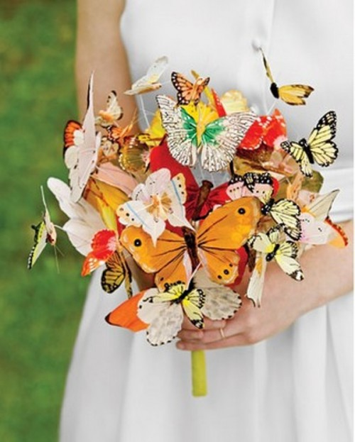 a colorful paper butterfly wedding bouquet is a dreamy and beautiful touch for a fairy-tale wedding