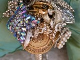 a shiny bright embellished brooch wedding bouquet is a gorgeous accessory for a statement