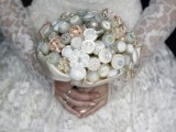 a button wedding bouquet with silk ribbons is a very cool and eco-friendly idea, don't use real blooms at all