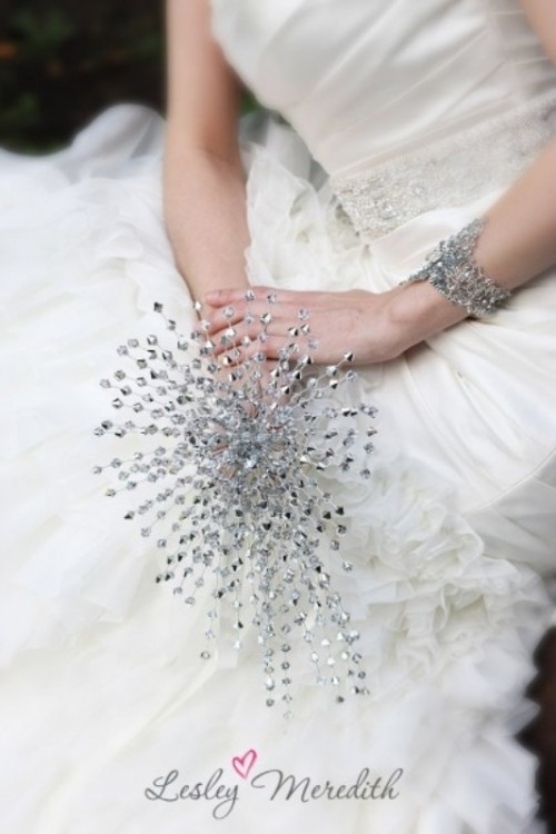 a sparkling wedding bouquet fully made of embellishments is a bright and shiny idea