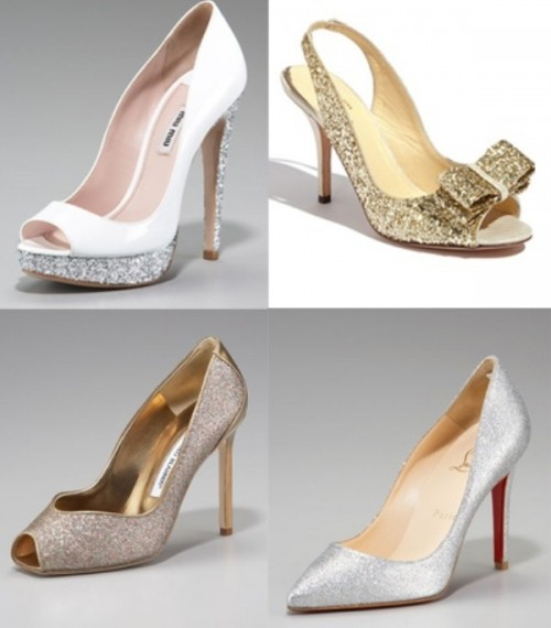 white peep toe shoes with silver glitter platforms and gold glitter bow heels for a very glam bridal look