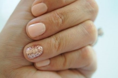 nude nails with a pink glitter accent one are amazing for a bride who loves nude but wants a bright accent