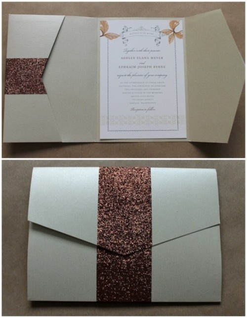 a neutral wedding invitation of kraft paper, brown glitter ribbons is a very elegant solution