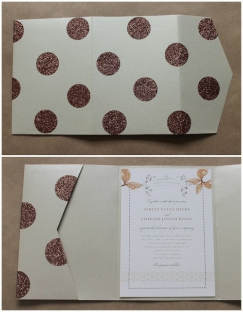 a fun glam wedding invitation with brown glitter polka dots is a cool solution for a playful wedding