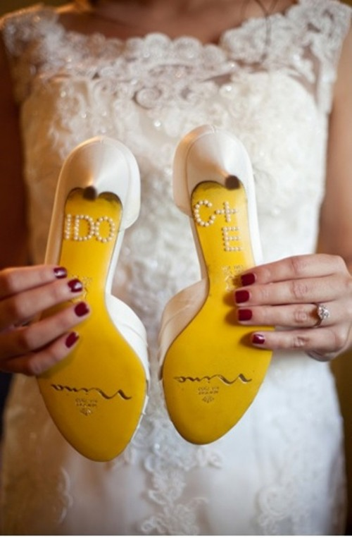 fun shoe detailing - beading plus yellow bottoms - is very cool for a spring or summer bride