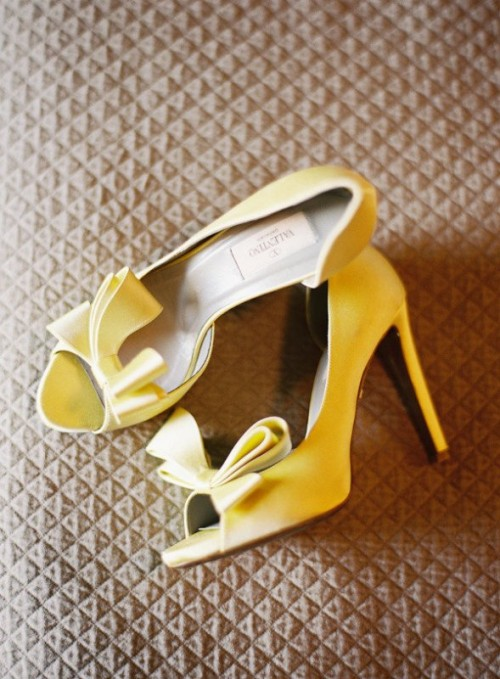 yellow peep toe shoes with oversized bows are lovely to accent a spring bridal look