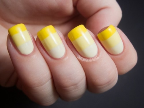 yellow color block wedding nails for a spring or summer bride, for tropical or other weddings