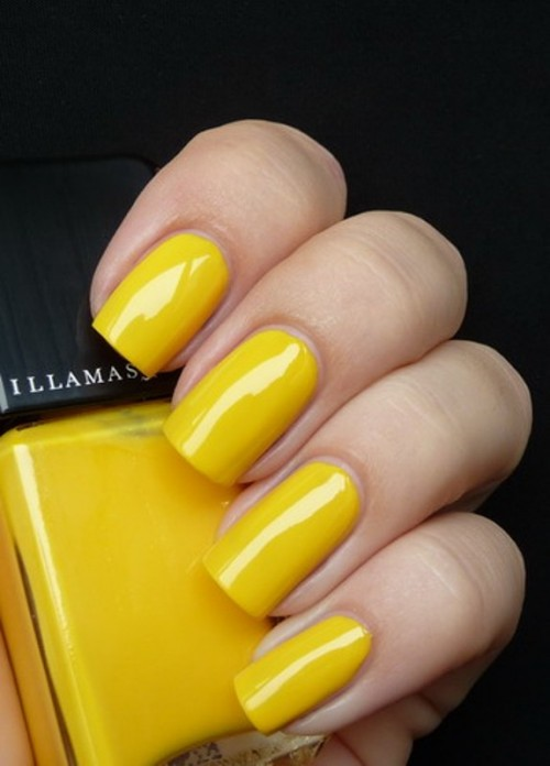 bold yellow nails will make a colorful statement in your bridal look