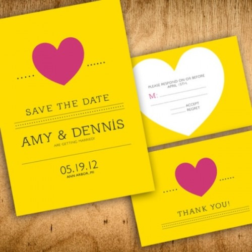 shiny yellow save the dates with hearts are cute and cool ones for any wedding