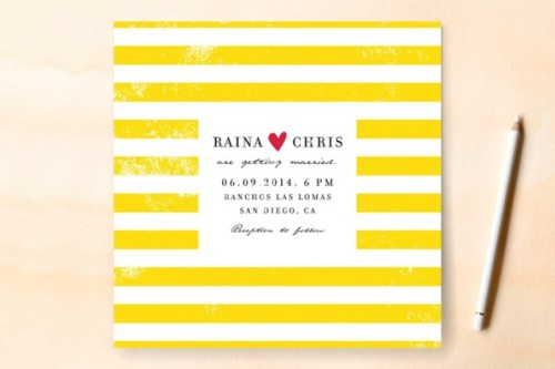 a bold striped wedding invitation with names is a cool and fun idea to rock