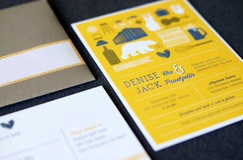 grey, yellow and white wedding stationery with fun prints is a cool idea for a modern wedding