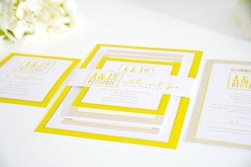 bold yellow, white and tan wedding invitations are great for any modern wedding
