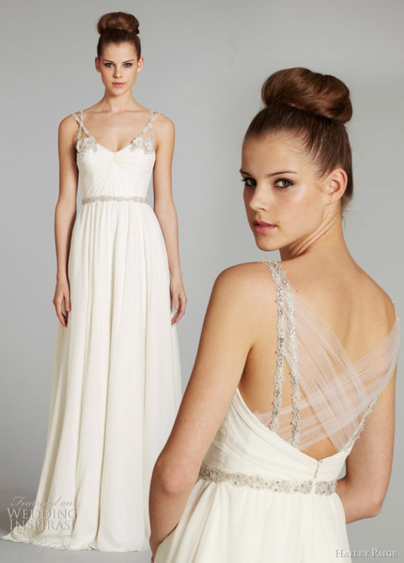 a creative wedding dress back of criss cross tulle and embellished straps will make your wedding dress very special
