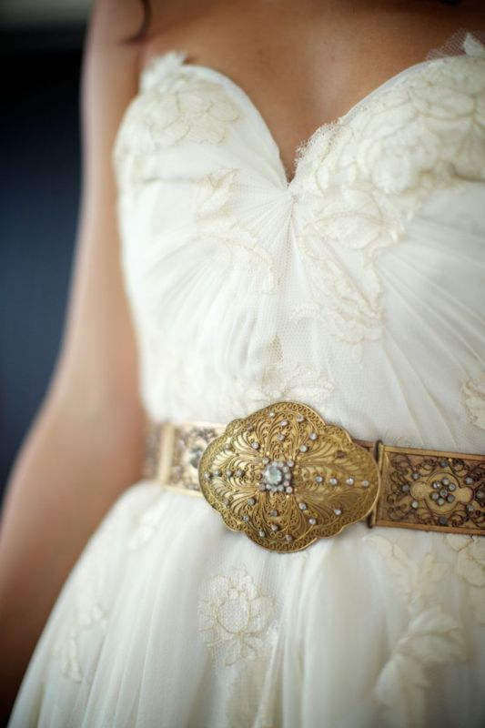 a gorgeous dark gold embellished belt will accent any wedding dress and make it wow