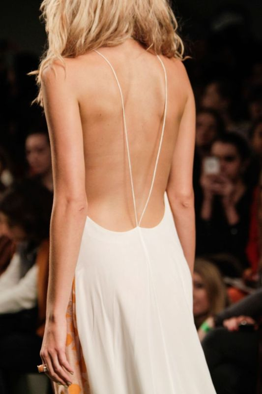 an open back with just two spaghetti straps looks very accented and very sexy and natural
