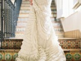 a ruffled wedding dress skirt with a train is a romantic and chic detailing idea to try