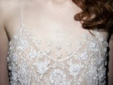 a sheer fully embellished and embroidered wedding dress bodice is a bold glam idea to go for