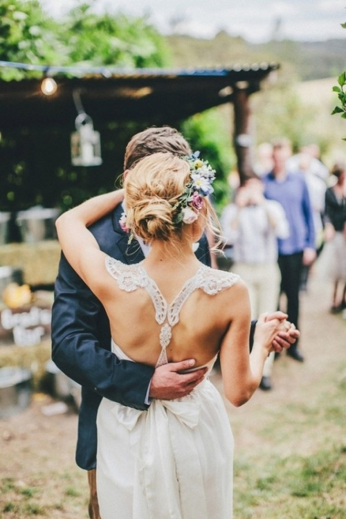 a lace racerback is a cool idea for a boho or rustic bride, it's pretty and simple detailing