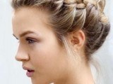 a messy and dimensional braided updo with some locks down is a picture-perfect option that will last long