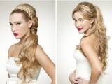 a half updo with bangs and a braided halo can be turned into a low ponytail if needed
