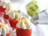strawberries with whipped cream and nuts on top are a simple sweet finger food idea