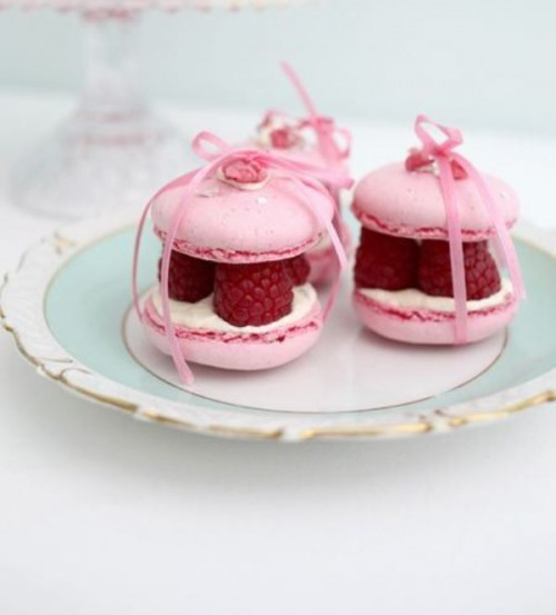 macaron sandwiches with cream cheese and fresh raspberries inside