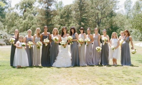maxi strapless bridesmaid dresses in all shades of grey are a cool option for many weddings