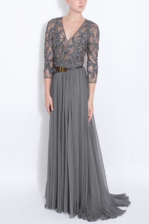 a refined grey A-line dress with an embellished bodice, long sleeves, a V-neckline and a pleated skirt is a cool idea for brides, bridesmaids and mothers of brides or grooms