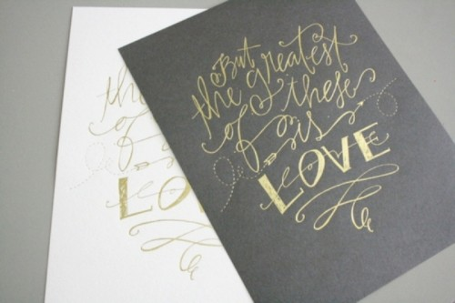 grey and white stationery with gold calligraphy is a cool idea for any modern wedding