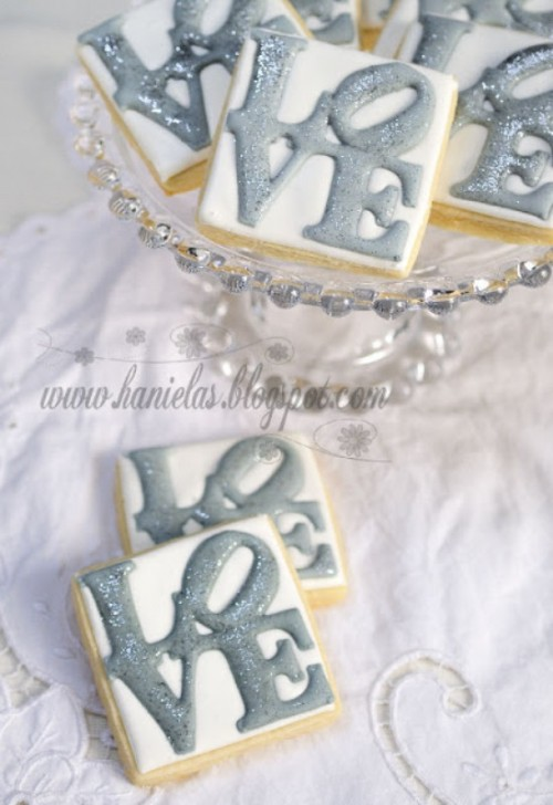 glazed cookies with grey LOVE letters are nice for any modern wedding