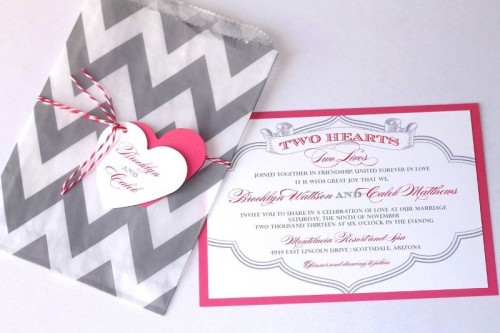 grey, white and pink wedding invitation suite with a chevron print and more prints in Moroccan style