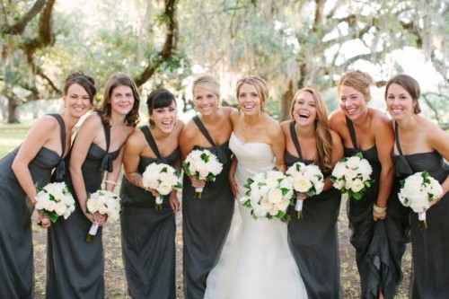 elegant graphite grey one shoulder bridesmaid dresses with drapery and a strapless neckline