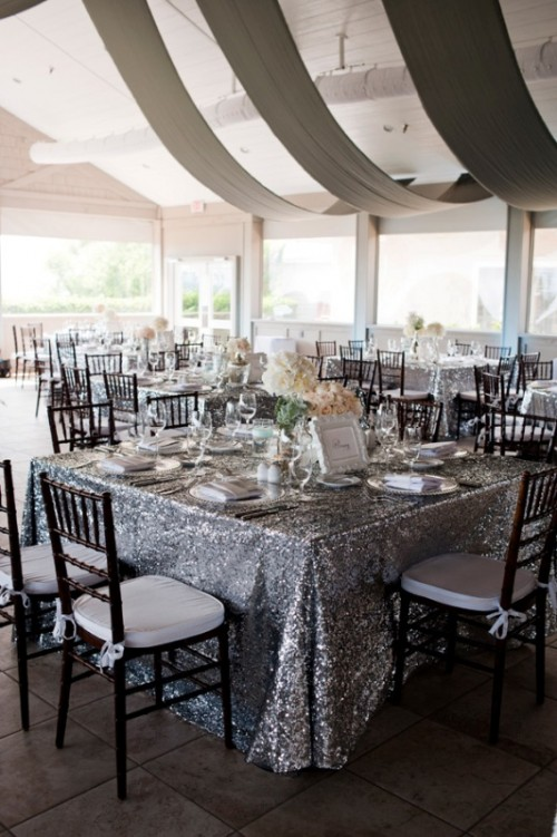 silver grey sequin tablecloths are lovely and chic and will add a sparkle to your wedding reception