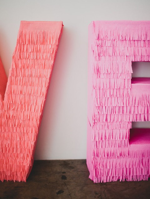 Adorable DIY Giant Fringe Love Letters For Your Wedding