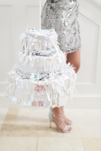 Glitter DIY Wedding Cake Piñata To Make