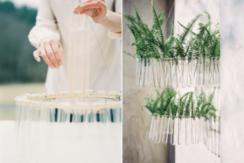 Cute DIY Test Tube Chandelier For Rustic Weddings