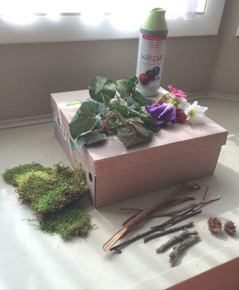 diy rustic woodland wedding card box