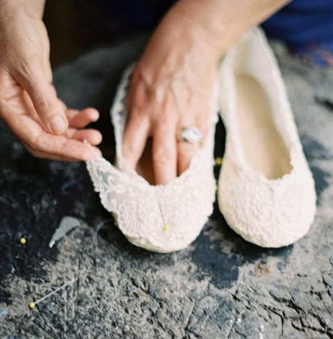 Picture Of Dreamy DIY Lace Ballet Flats For Brides 9
