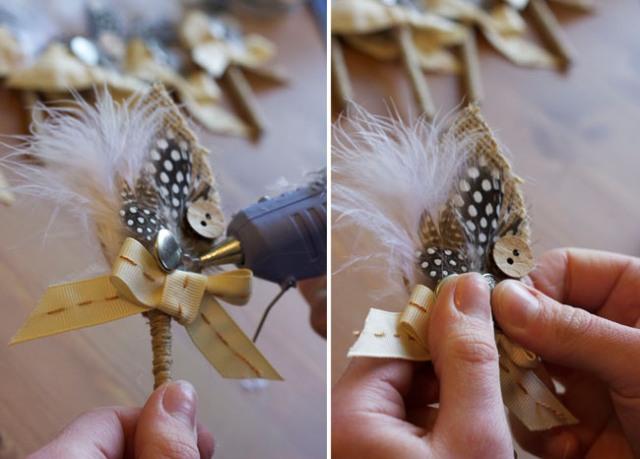 Picture Of Elegant DIY Burlap Boutonniere 14