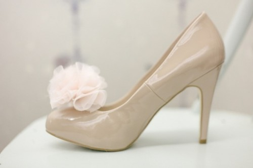 Fairy DIY Bridal Shoes With Chiffon Pom Poms