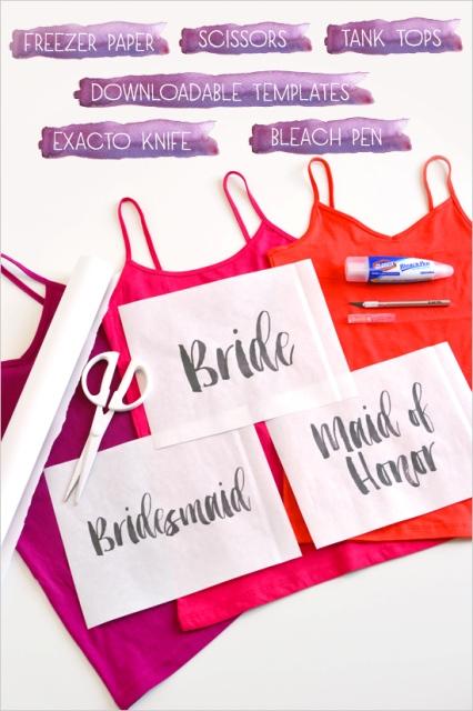 Funny DIY Bleach Shirts For Brides And Bridesmaids