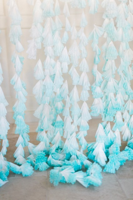 Gentle DIY Dip Dyed Coffee Filter Wedding Backdrop