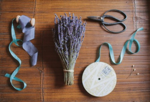 Lovely DIY Fresh Lavender Wedding Bouquet