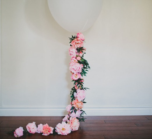 Picture Of Romantic DIY Balloon With Silk Flowers For Weddings 4