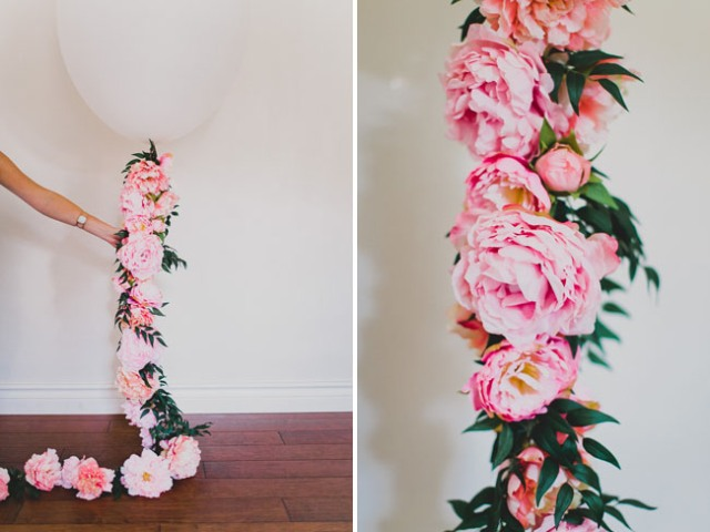 Picture Of Romantic DIY Balloon With Silk Flowers For Weddings 5
