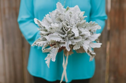 Simple And Original DIY Dusty Miller Wedding Bouquet