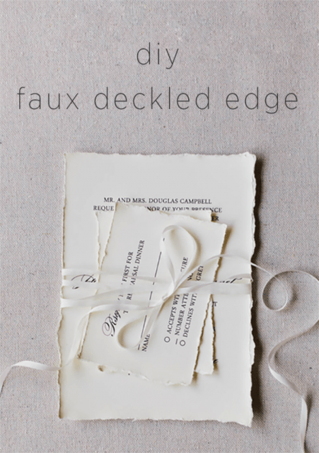 Simple DIY Faux Deckled Edge Paper For Your Wedding Invitations