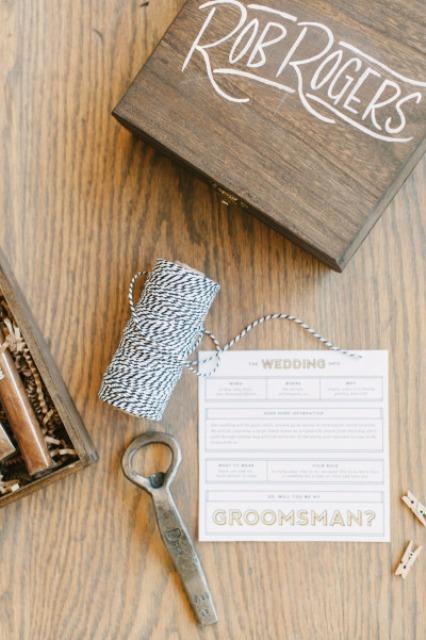 Very Stylish DIY 'Will You Be My Groomsman?' Box