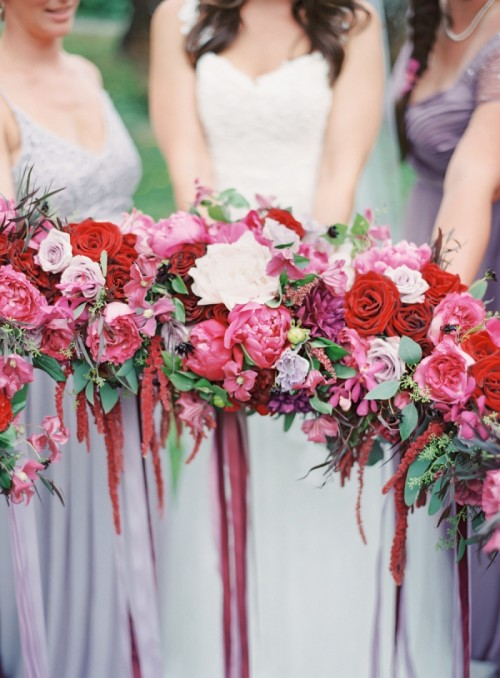 Adorable Berry-Colored Hawaii Wedding